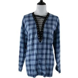 🆕 LF Furst Of A Kind Blue Lace Up Flannel OS